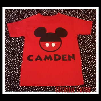Red Disney Inspired Mickey Mouse or Minnie Mouse T Shirt, Perfect for Disneyland or Disney Themed Birthday Party