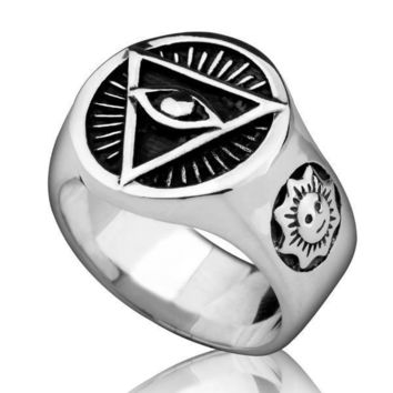 All Seeing Eye Pyramid 925 Sterling Silver Ring