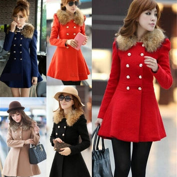 New Fashion Women's Winter Overcoat Long Coat Outwear Slim Fit Fur collar Long Sleeve Double-breasted 5 Colors S-XL