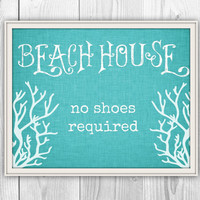 Beach House Decor - 11x14 Print - No Shoes Required - other colors & sizes available