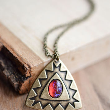 Geometric Fire Opal Necklace