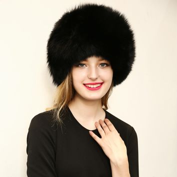 New 2017 Warm Women's Hat Faux Fur Crochet Beanies Caps Fox Fur Pompom Ball Pendant Russian Style Windproof Ear Prot