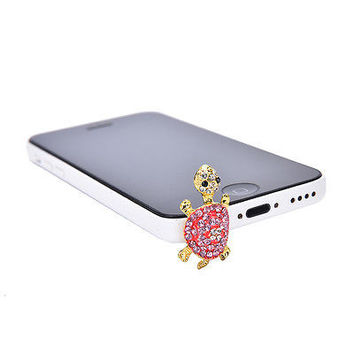 Crystal Turtle Earphone Jack Anti Dust Plug Cap Stopper for CellPhone 3.5mm HU