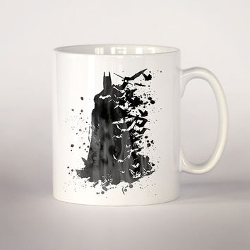 Batman coffee mug, Batman watercolor 11 oz. Mug art, Gotham City art, dark knight poster, Batman Fan Gift, superhero art, movie poster