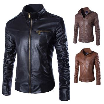 Mens Solid Casual Coats Leather Bomber Jacket