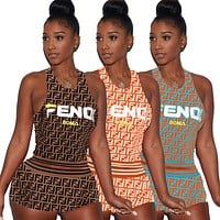 FENDI Fashion Women Sexy Print Sleeveless Top Shorts Set Two-Piece