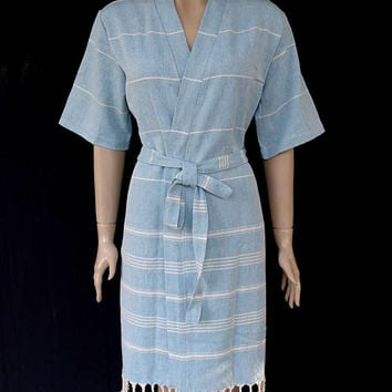 Women's neutral blue colour soft cotton short sleeved kimono bathrobe, bridesmaid robe, dressing gown, swimming pool robe, beach robe.