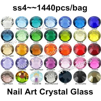 1440 pcs /pack SS4 (1.5-1.7mm) crystal Multicolor Non Hotfix 3D Nail Art stones Flat back Rhinestones glass nail art decorations