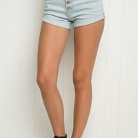 HIGH-RISE CHAMBRAY SHORTS