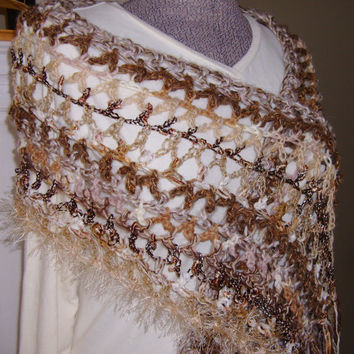 Animal Magnetism Neutral Brown Cream Lightweight Freeform Crochet Shawl Scarf