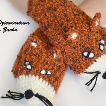 Crochet Fox Mittens Gloves in Red Orange - Warmers