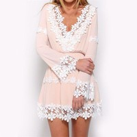 Chiffon Dress Party PInk Dress Chic Clothing Income Tropical White  Flower Party Gowns Strap Cute Mini Dress