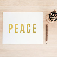 Gold Foil Peace PRINTABLE Art  Office Art Typography Poster Dorm Decor Apartment Decor Poster