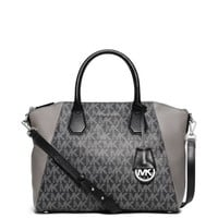 Campbell Large Logo and Leather Satchel | Michael Kors