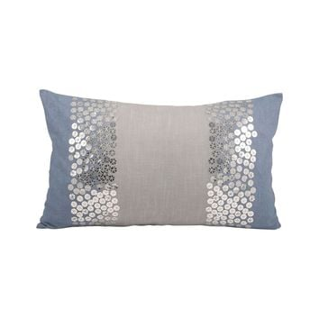 Nautica Shimmer Pillow 20X12-Inch Cool Waters,Silver
