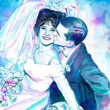 EXPRESSIVE WATERCOLOR PORTRAIT of couple from old photo - 50th wedding anniversary gift