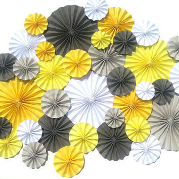 40 Pinwheels Yellow Grey White Wedding Event Decor