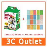 Original Fujifilm Fuji Instax Film 20 Sheets+10 Sheet Stickers For Fuji 3 Inch Instant Camera mini 7s 70 8 25 50s 90