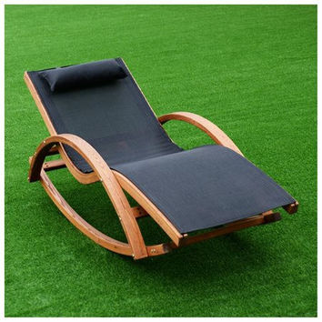 Costway Outdoor Rocking Lounge Chair Larch Wood Beach Yard Patio Lounger W/...