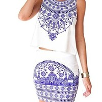 Women's Floral Printed Casual T-shirts Top and Shorts Skirt 2 Pieces Set