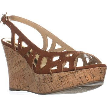 TS35 Ebbie Slingback Wedge Sandals, Cognac, 8 US