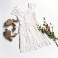 White Floral Lace Chiffon Dress