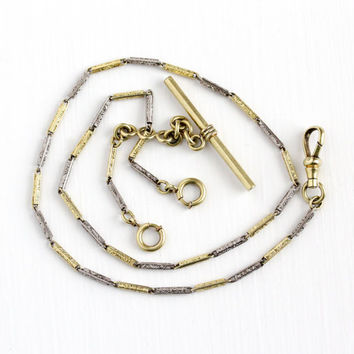 Vintage 14k Yellow & White Gold Filled Pocket Watch Chain - Antique Art Deco 1920s Two Tone Simmons Swivel Clip Panel Filigree Swirl Jewelry