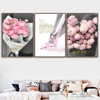 Pink Rose Flower Girl Love Quotes Wall Art Canvas Painting Nordic Posters And Prints Wall Pictures For Living Room Home Decor