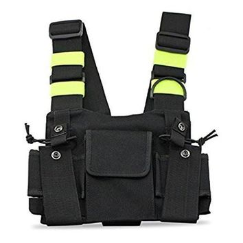 ONETOW Bright Green Radio Chest Harness Chest Front Pack Pouch Holster Vest Rig Carry Case for Two Way Radio Walkie Talkie