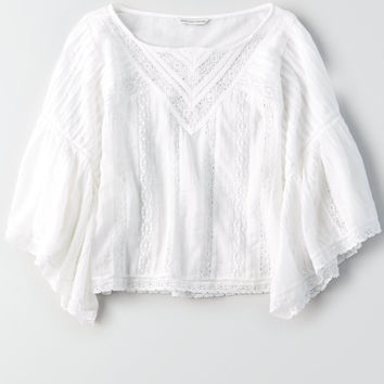 AE Wide Ruffle Bell Sleeve Top, White