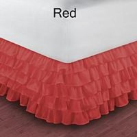1000TC Egyptian Cotton Red Full Ruffle Bed Skirt / Valance