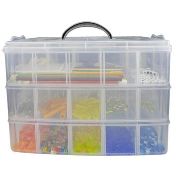 Evelots 3-Tier Stackable Storage Case W/ Adjustable Compartments-Craft Toy Box