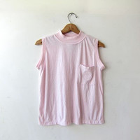 Vintage tank top. pale pink sleeveless Tshirt. Modern basic tank top. Pocket tank top. Cropped tank top.