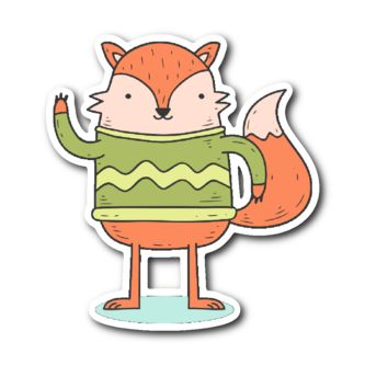 Cute Animals in Winter Clothes - Fox in a Sweater Sticker