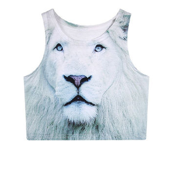 White Lion Crop Top
