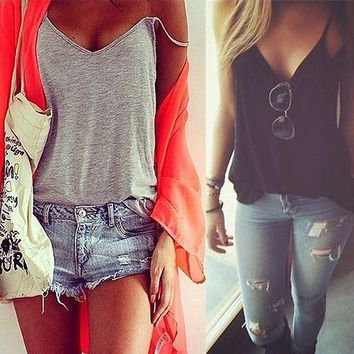 Women Fashion Sexy Strap Tank Top Vest V-neck Sleeveless Casual BasicTops