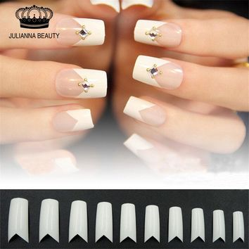 500PCS+50Pcs Free Beauty White V Shapes False Fake Acrylic Nail Tips Full False French Nail Tips NEW False Nail Art Tip Manicure