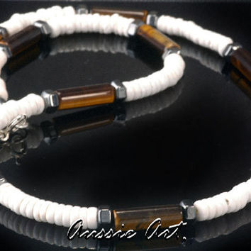 SN-054 Finely Made Shell, Hematite & Tigers Eye New Choker Surf Men Necklace.