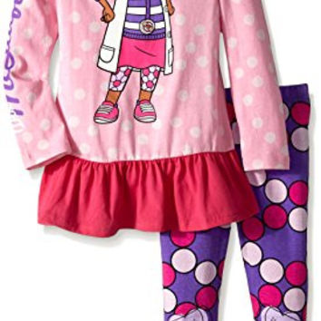 Disney Little Girls' Long Sleeve Doc Mcstuffin Role Play Hoodie and Legging, Pink, 2T