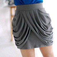 IT Girl. Modern Chic Grey Drapes At Front Mini Skirt. Red Choice