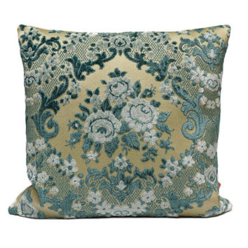 Blue Cut Velvet Pillow 16x16, decorative cushion cover, shabby chic, floral pillow handmade from vintage upholstery fabrics by EllaOsix