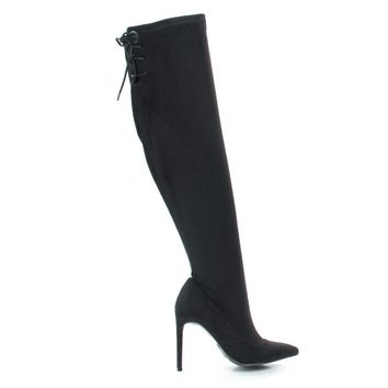 Riseup65s Black By Anne Michelle, Pull-On High Heel Over Knee Boot w Lace Tie Fastening Drawstring