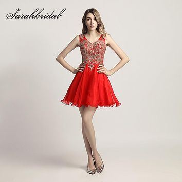 Gold Lace Appliques Graduation Homecoming Dresses Short Mini Red Chiffon V-Neck Party Gowns Cheap Cocktail Dress OS420