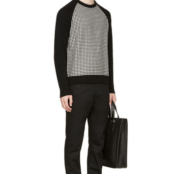 Ami Alexandre Mattiussi Black And White Wool Houndstooth Sweater