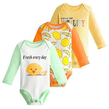 3 Pcs Baby Romper Set Infant Boys Girls Cotton Long Sleeve Jumpsuit Cartoon Cat Printed Pajamas Newborn Casual Outfit Clothes