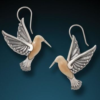 """Hummingbird II"" Fossilized Walrus Tusk Sterling Silver Earrings"