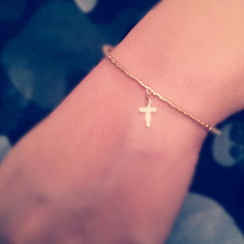 tiny cross bracelet - dainty - minimalist gold jewelry- gift for her under 20