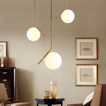 Milky White Glass Globe Minimalist Pendant Lights