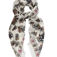 Skull and floral-print scarf | Alexander McQueen | MATCHESFASHION.COM US