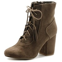 Women's Shoe Faux Suede Tessle Lace Up Stacked High Heel Ankle Boots